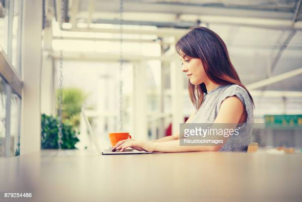 Side view of female blogger using laptop at coffee shop