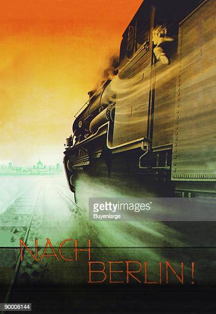Side view of German Railway Engine Showing speed in Great Illustration