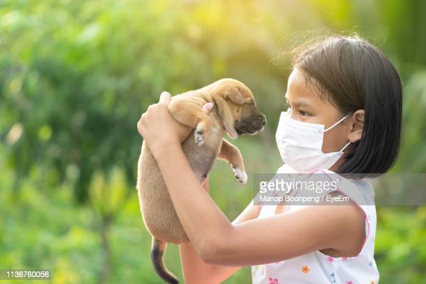 side view of girl wearing mask holding puppy - dog mask stock pictures, royalty-free photos & images