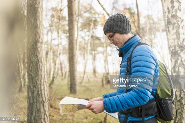 Side view of hiker reading map in forest