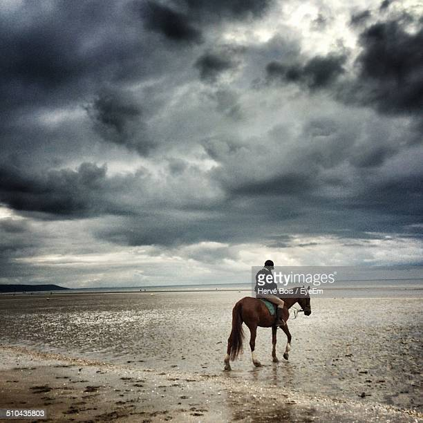 Side view of horse ride on beach against the clouds
