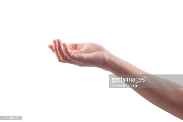 side view of human hand in reach out one's hand gesture isolate on white background , low contrast for retouch or graphic design - gesturing stock pictures, royalty-free photos & images