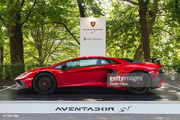 Side view of Lamborgini Aventador Parco Valentino car show hosted 93 cars by many automobile manufacturers and car designers inside Valentino Park