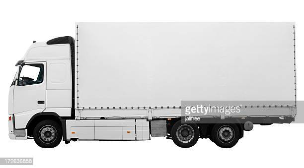 Side view of large white truck on white background