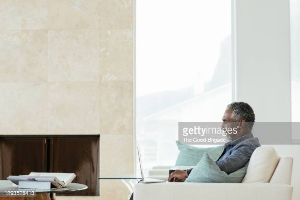 side view of man using laptop while sitting in living room - lifestyle stock pictures, royalty-free photos & images