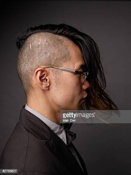 side view of model with cool hair - half shaved hairstyle stock pictures, royalty-free photos & images
