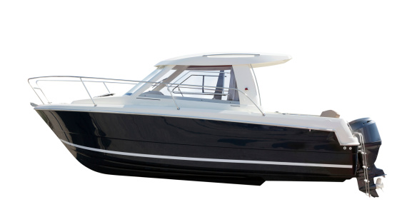 Side view of motor boat. Isolated over white 451593551