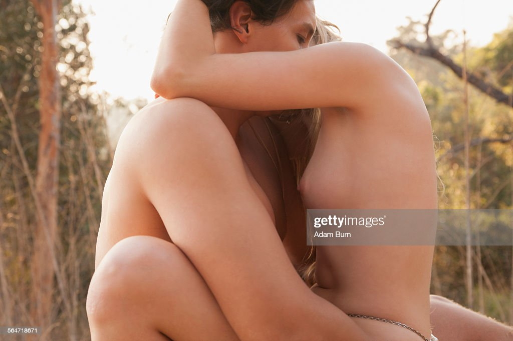 Side View Of Naked Couple Making Love In Nature High-Res -3249