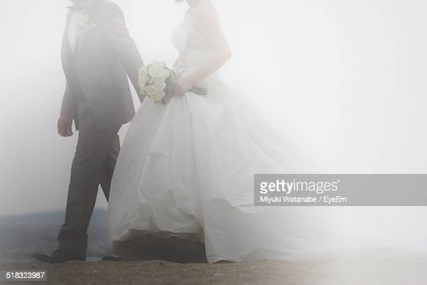 Side View Of Newly Wed Couple Walking On Landscape