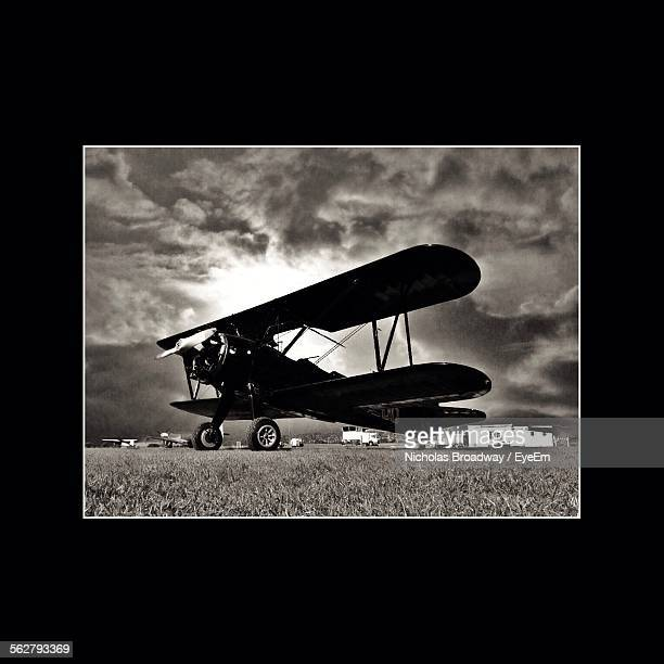 Side View Of Old Biplane