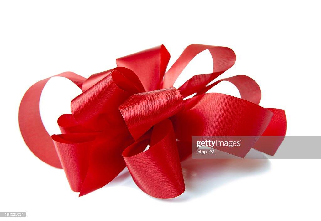 サイドのレッドの手作りの白い giftbox にリボン。クリスマスます。 : ストックフォト