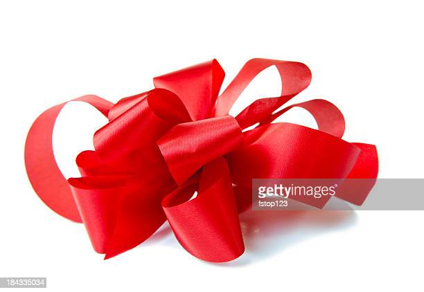 side view of red handmade bow on white giftbox. christmas. - tied bow stock pictures, royalty-free photos & images