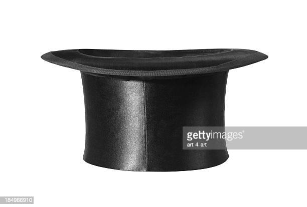 Side view of retro top hat on white background