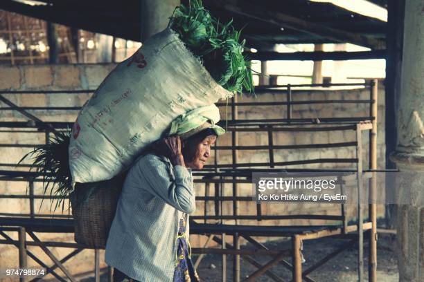 side view of senior woman carrying plants in sack - ko ko htike aung stock pictures, royalty-free photos & images