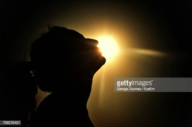 Side View Of Silhouette Woman During Sunset