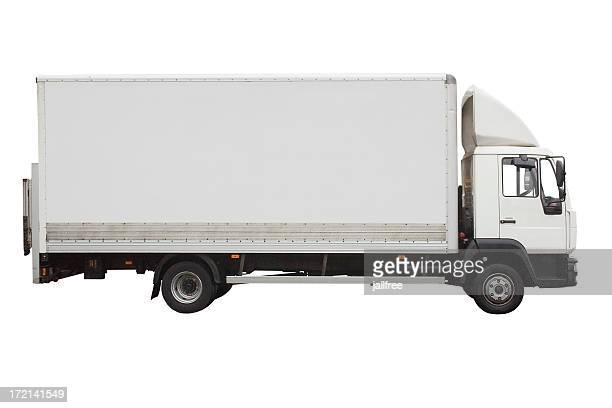 Side view of small white truck isolated on white