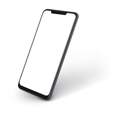 side view of smartphone with blank screen and modern frame less design isolated on white 1144491623