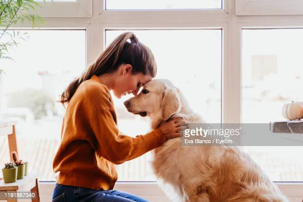 side view of smiling woman holding dog at home - golden retriever photos et images de collection