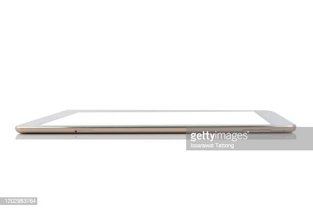 side view of tablet  isolated on white background - vue latérale photos et images de collection