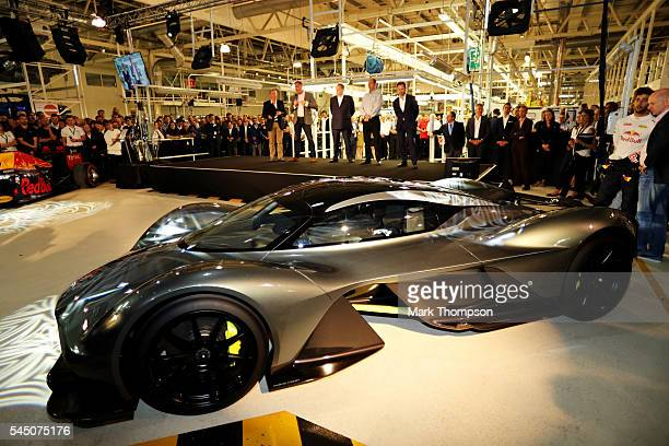 A side view of the AMRB 001 at the Aston Martin and Red Bull Racing Project AMRB 001 Unveil on July 5 2016 at the Aston Martin Headquarters in Gaydon...