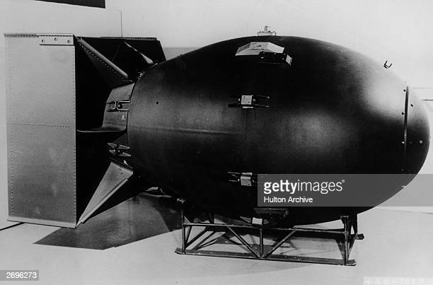 Side view of the 'Fat Man' atomic bomb the kind that the US dropped on Nagasaki Japan on August 9 killing 40000 people during World War II The bomb...