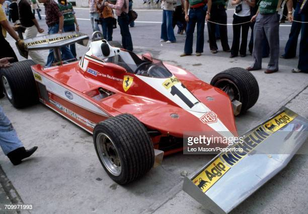 Side view of the Ferrari 312T3 with a Ferrari Flat-12 engine driven for Scuderia Ferrari by Carlos Reutemann of Argentina which placed first in the...