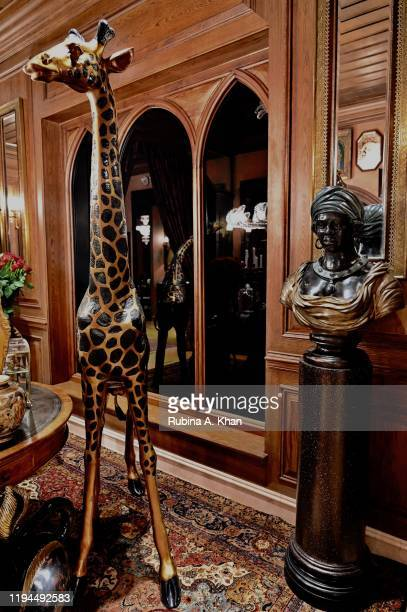 A side view of the grandiloquent entrance foyer at Sabyasachi Jewelry Indian couturier and jewelry designer Sabyasachi's first flagship jewelry store...