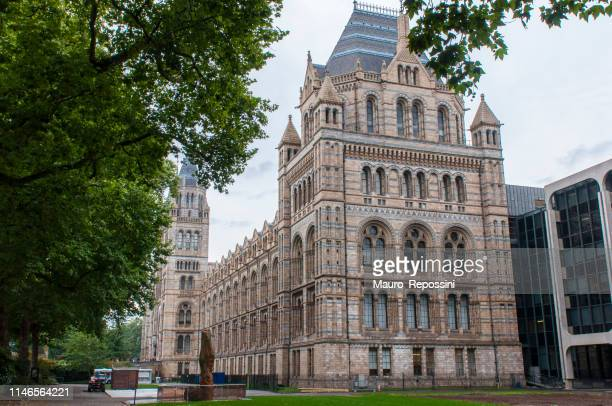 Side view of the Natural History Museum from Exhibition Road in South Kensington area, London, England, UK.