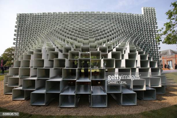 A side view of the newly installed Serpentine gallery Pavilion designed by Danish architect Bjarke Ingels for Bjarke Ingels Group on June 7 2016 in...