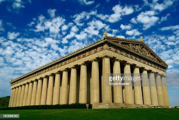 Side view of the Parthenon in Nashville, Tennessee in bright early sun.
