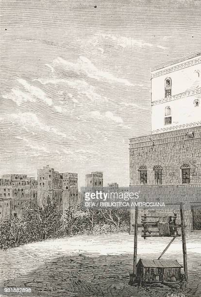 Side view of the Pasha's palace in Sana'a Yemen drawing by Antonio Bonamore from a photograph by Renzo Manzoni engraving by Francesco Canedi from...