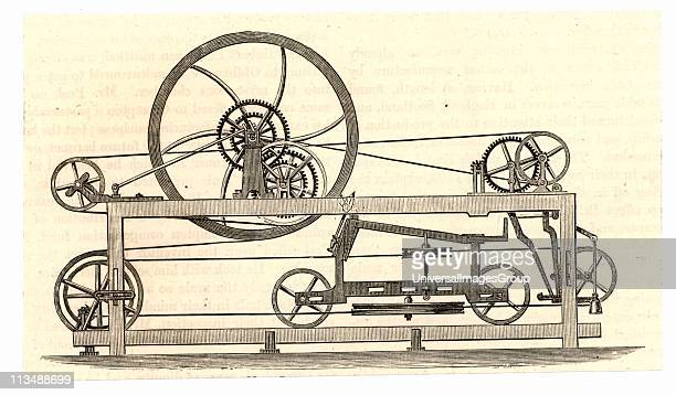 Side view of the spinning mule perfected in 1779 by Samuel Crompton English inventor of Bolton, Lancashire. Crompton's mule made it possible to spin...