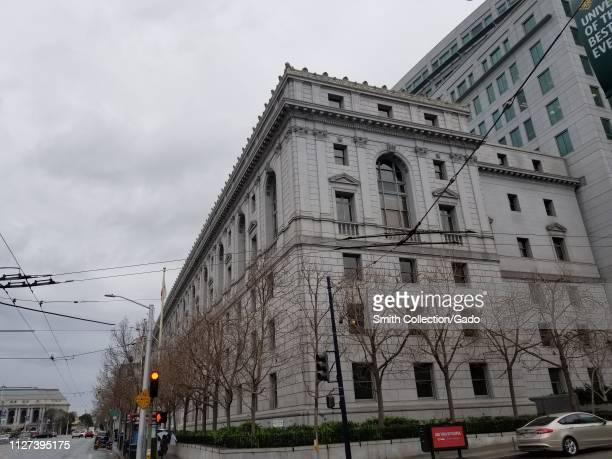 Side view of the Supreme Court of California on an overcast day Civic Center San Francisco California February 2019