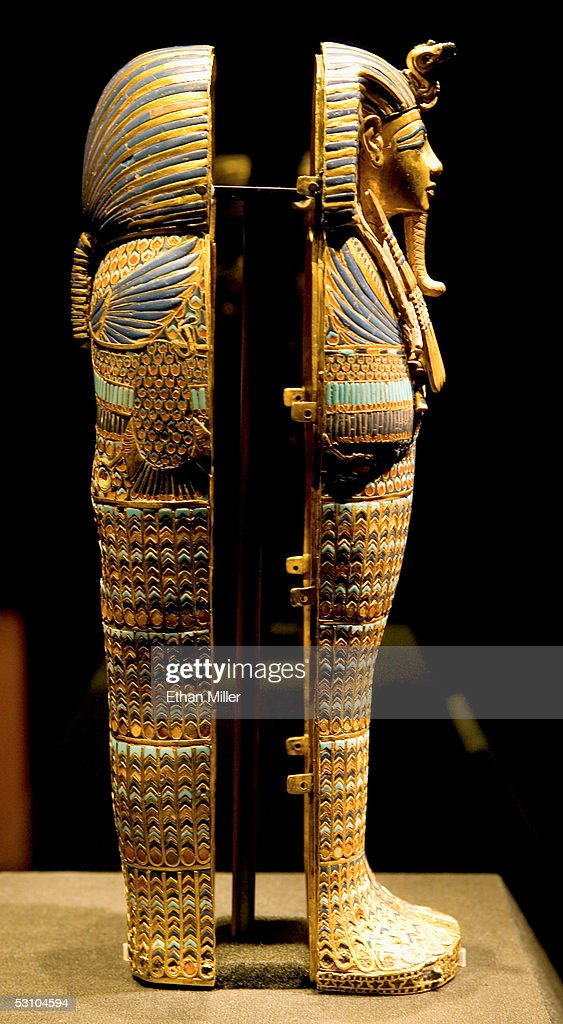 A side view of the Viscera Coffin of Tutankhamun is on display during the 'Tutankhamun And The Golden Age Of The Pharaohs' Exhibit Opening at LACMA on June 15, 2005 in Los Angeles, California. Tutankhamun possessed four miniature coffins fashioned of gold and inlaid with colored glass and semi-precious stones, and each stood in a separate compartment in an alabaster chest.