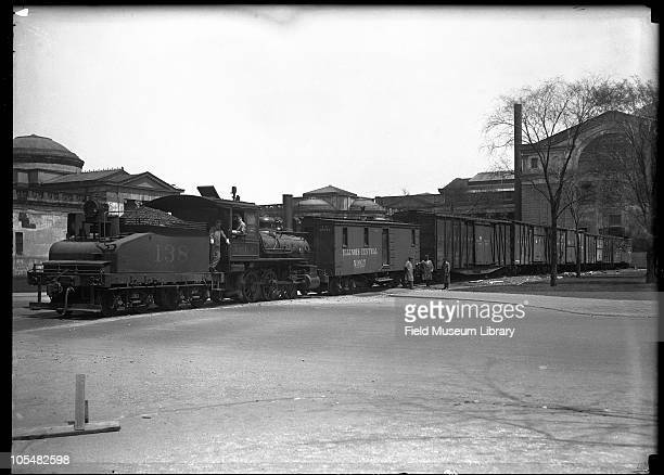 Side view of train Field Columbian move to new Field Museum Chicago Illinois 1920