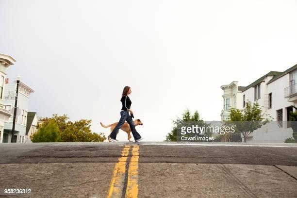 side view of woman and dog walking on street - alleen één mid volwassen vrouw stockfoto's en -beelden