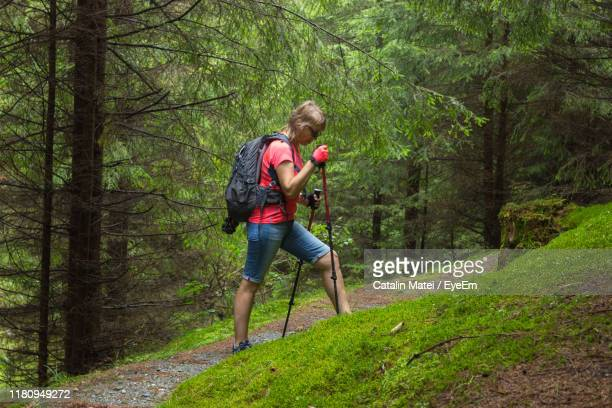 side view of woman hiking on hill in forest - hiking pole stock pictures, royalty-free photos & images
