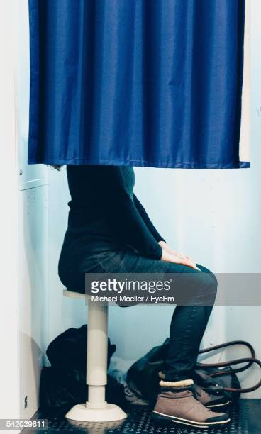 Side View Of Woman In Photo Booth