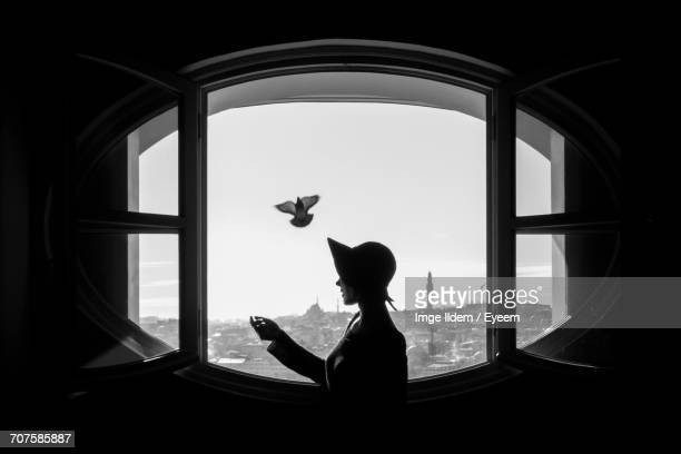Side View Of Woman Looking At Cityscape Through Window