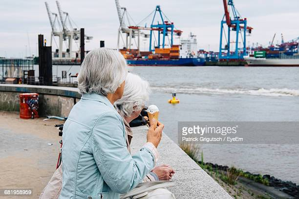 Side View Of Woman Looking At Harbor