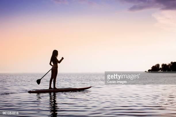 side view of woman paddleboarding on sea against sky during sunset - paddle stock pictures, royalty-free photos & images