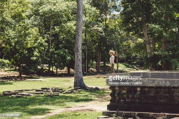 side view of woman standing by trees in park - bortes stock-fotos und bilder