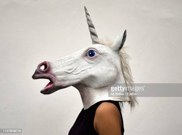 side view of woman wearing horse mask against white background - obscured face stock pictures, royalty-free photos & images