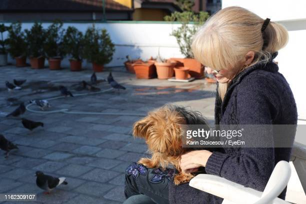 Side View Of Woman With Dog Sitting On Chair
