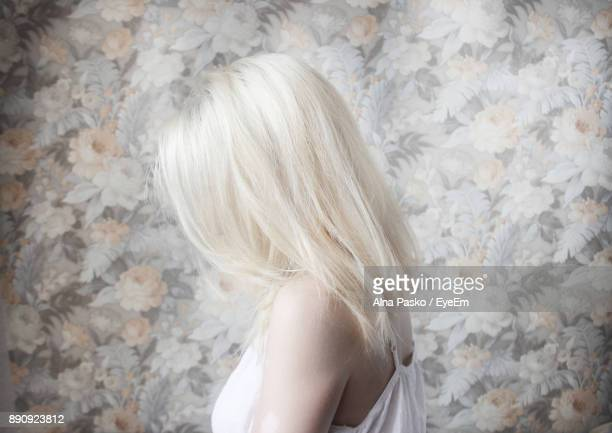 side view of woman with white hair - white hair stock photos and pictures