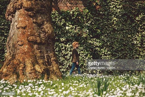 side view of young woman walking in park - bortes stock pictures, royalty-free photos & images