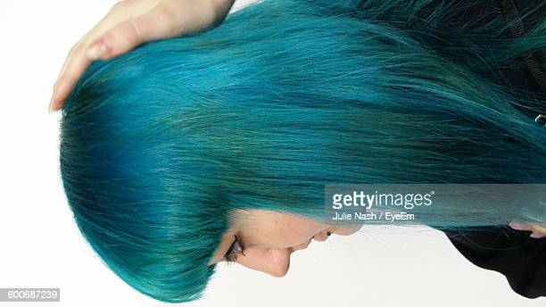 Side View Of Young Woman With Blue Hair