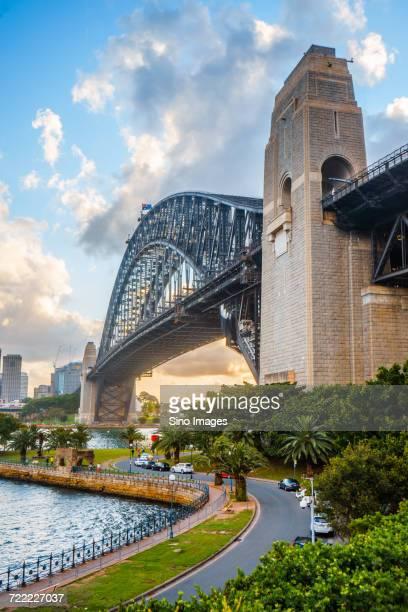 side view ofsydney harbour bridge, sydney, australia - image stock pictures, royalty-free photos & images