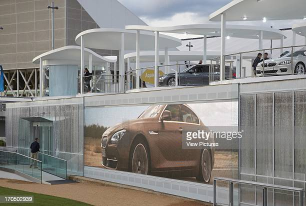 Side view showing pavilion and TV screen BMW Group Pavilion London 2012 Showroom Europe United Kingdom Serie Architects