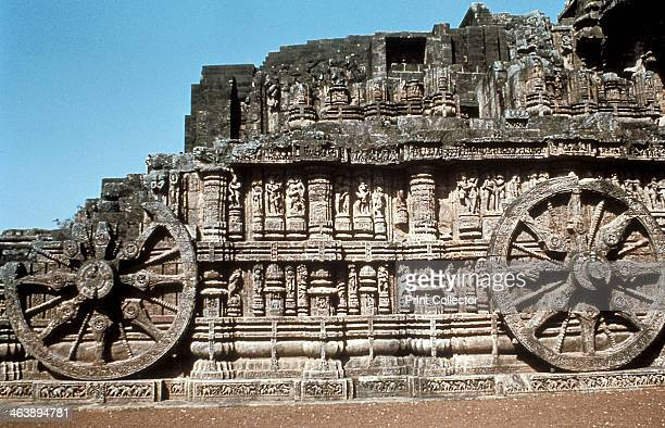 Side wall of the chariot Temple of the Sun Konarak India 13th century Dedicated to the worship of the Hindu sun god Surya this Hindu temple is...